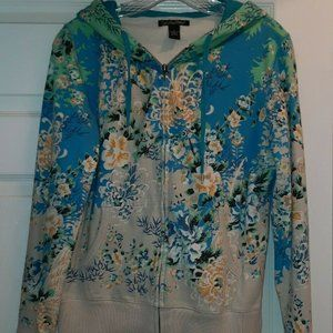 Vintage Lucky Brand Hoodie Blue Yellow Floral Sm